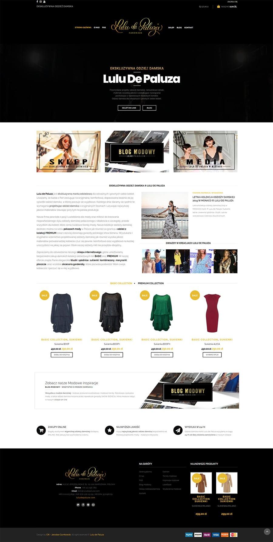 Strona internetowa - Sklep Lulu de Paluza