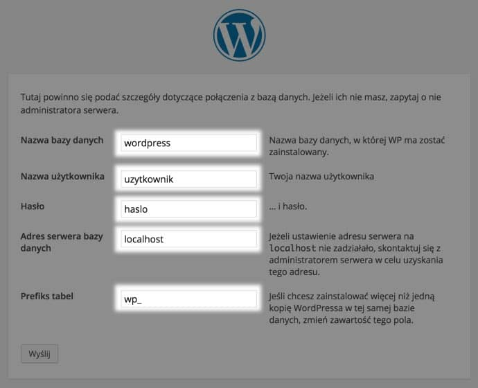 Ustawienie bazy danych WordPress